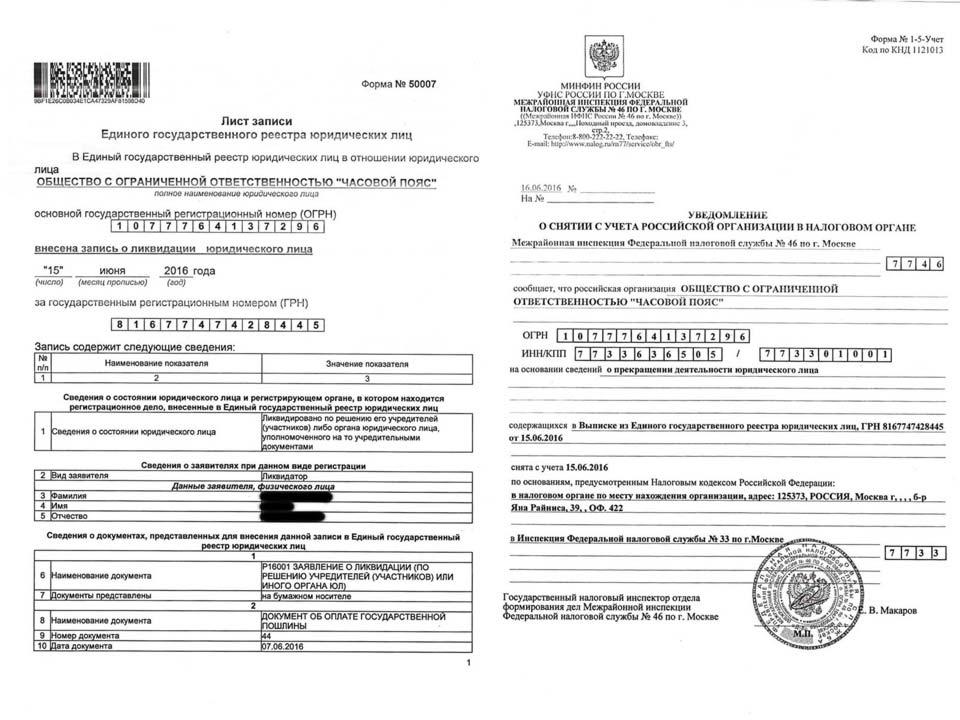 Ликвидация ООО «Часовой пояс», МИФНС № 33 по г. Москва.