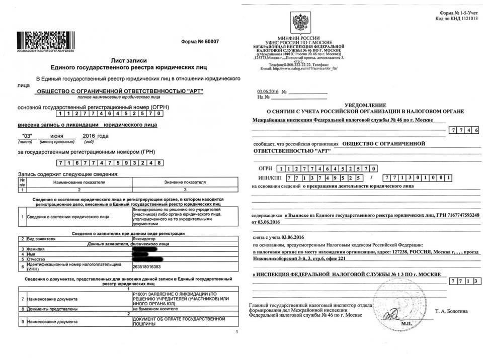 Ликвидация ООО «Арт», МИФНС № 13 по г. Москва.